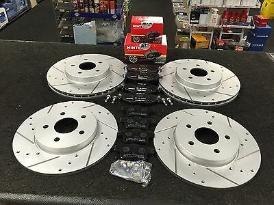 Jaguar X Type Sport Brake Disc Drilled Grooved Mintex Pads Front Rear Sets