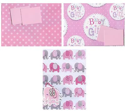 Baby Girl 2 Sheets Of Gift Wrap Wrapping Paper + 2 Tags 3 Designs Choices 1Stp&p