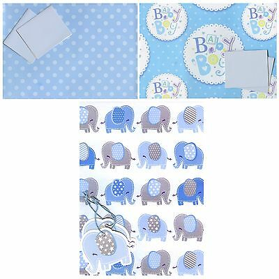 Baby Boy 2 Sheets Of Gift Wrap Wrapping Paper + 2 Tags 3 Designs Choices 1Stp&p