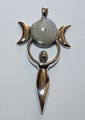 Sterling Silver Triple Moon Goddess Pendant with Moonstone. Pagan/Wiccan