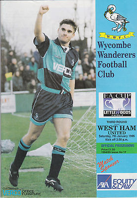 Wycombe Wanderers v West Ham United - FA Cup 3rd Round - 7/1/95