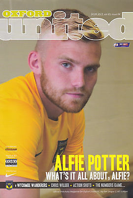 Oxford United v Wycombe Wanderers 24/08/13 League 2 programme