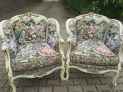 Antique Set Of Two Chairs In French Louis Xvi Style And With Gobelin Fabric