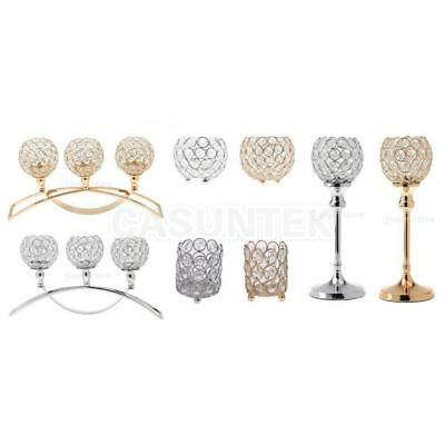 Elegant Tea Light Crystal Candle Holders Candlestick Wedding Table Centrepiece