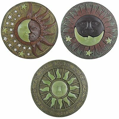 Set of 3 Glow In The Dark Garden Stepping Stone Sun Moon Paving Decking Ornament