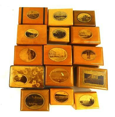 LOT OF 15 ANTIQUE MAUCHLINEWARE BOXES VARIOUS SCENES g