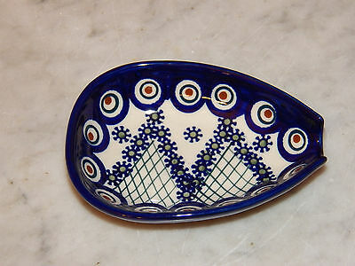 Genuine UNIKAT Polish Pottery Kitchen Spoon Rest! Lace Peacock Pattern!