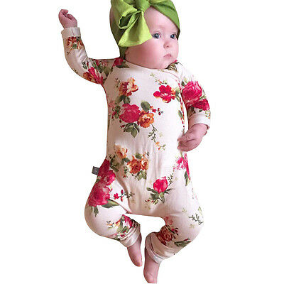 Toddler Kids Baby Boys Girls Floral Romper Jumpsuit Long Sleeve Outfits Sets