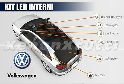 Kit Full Led Interni Volkswagen Polo 6R Conversione Completa + Luci A Targa Led