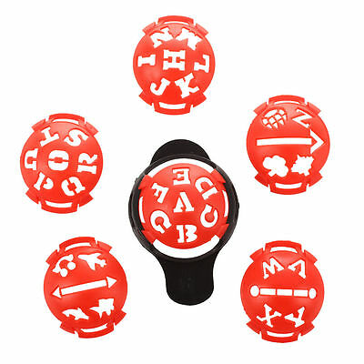 1 x Golf Ball Marker Base with Different Templates - Red and Black S3L6