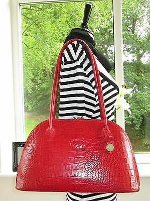 Authentic Mulberry Red Reptile Congo Leather Breton Shoulder Hand Bag