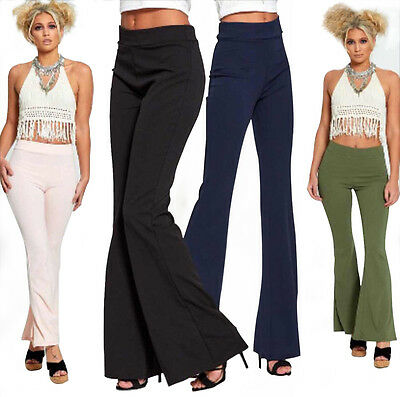 New Ladies Bell Bottom High Waist Wide Leg Flared Casual Trouser Bootcut Pants