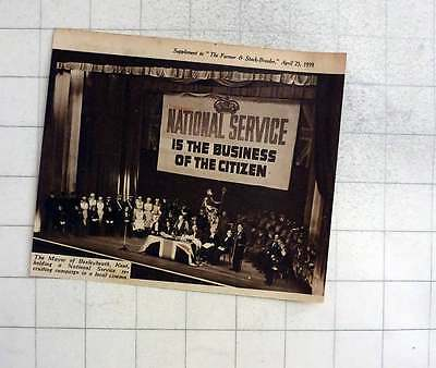 1939 The Mayor Of Bexleyheath, Kent Holding National Service Campaign In Cinema