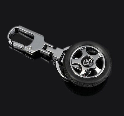 Car LOGO Wheel Keychain Keyring Key Holder Ring Metal Alloy Pendant For TOYOTA