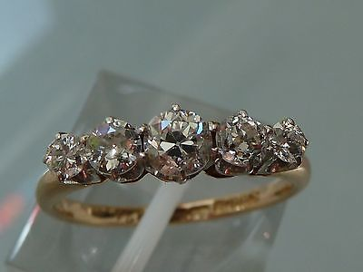 Superb Edwardian  Diamond Five Stone  Ring 18Ct Platinum .70Ct