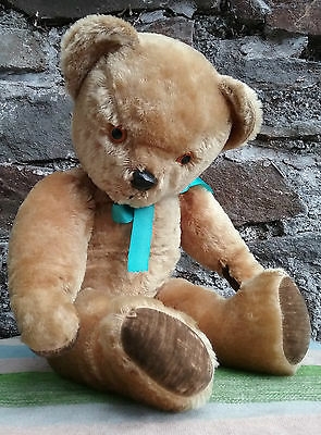 Large vintage British Pedigree mohair teddy bear, velvet pads, 1950s, 23""