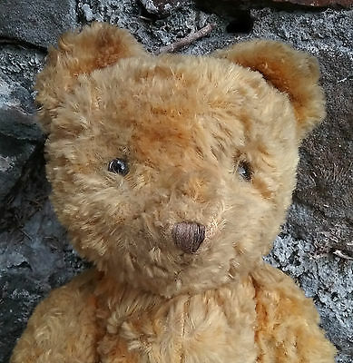 Vintage old gold silk plush humped teddy bear of Continental origin, 12 1/2""