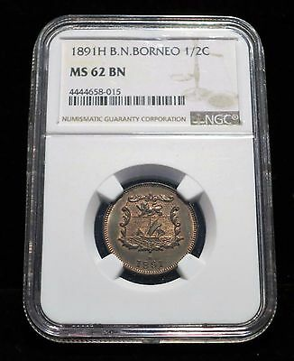 1891 -H British North Borneo 1/2 Cent UNC NGC MS62, Some Red Luster, Rare Issue