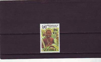 a129 - ZAMBIA - SG656 MNH 1991 SURCH 2k ON 20n - UN ANNIV - CV £32.00