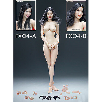 1/6 Scale Female Body Weizenfarbe + schwarz Glattes Haar / Locken Head Sculpt