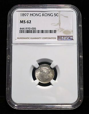 1897 Hong Kong 5 Cents, UNC, NGC MS62, Silver British, Queen Victoria