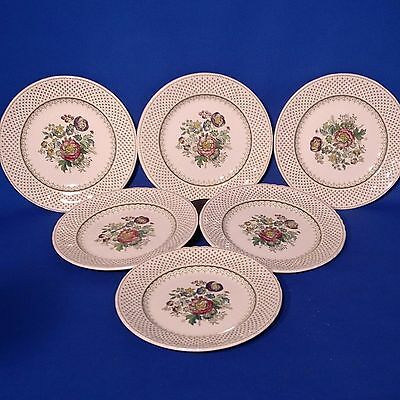 "Vintage & Rare 1950s MASONS PAYNSLEY GREEN - 6 x TEA / SIDE PLATES (6.75"") VGC"