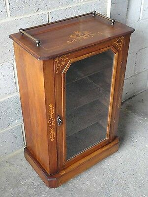 Lovely Antique Victorian Mahogany Inlaid Bookcase Cabinet With Lock & Key.