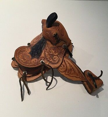 Vintage Tooled Leather Sheepskin Western Miniature Toy Horse Saddle