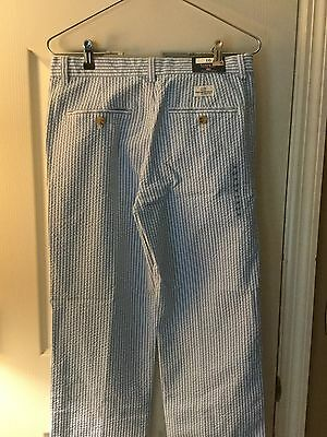 NWT Boys size 16 Vineyard Vines blue and white seer sucker  flat front pants