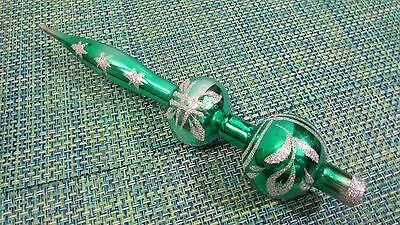 "Vintage Green Mercury Glass 12 1/2"" Christmas Tree Topper with Star Glitter"