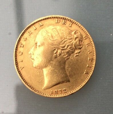 Gold Sovereign-Shield Back-Victoria Young Head-M 22ct Gold Dated 1872