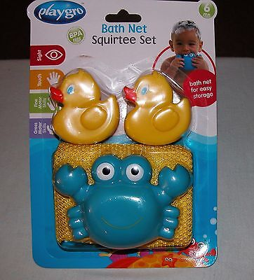 Playgro Bath Net Squirtee Set New/Ages:  6 Months +