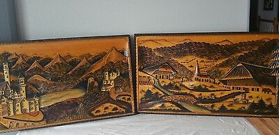 2 VTG GERMAN CASTLE WALL HANGINGS Wood Marquetry Hand Carved Neuschwanstein 3-D