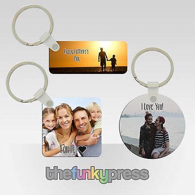 Personalised Photo Plastic Keyring Gift Present Birthday Add Text For Free