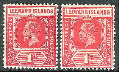 Leeward Islands1912 red 1d bright-scarlet1d  multi-crown mint SG48/48a