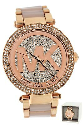 Ladies Michael Kors MK-6176 Parker Rose Gold Blush Pave Crystal Logo Dial Watch