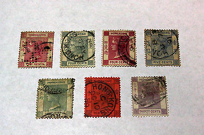 Lot of 7 Hong Kong  Postal  Postage Stamps Queen Victoria Collection HONG004