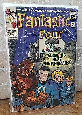 Marvel Comics 1st INHUMANS  FANTASTIC FOUR #45  UK Black bolt lock jaw