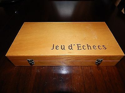 "French Made Chess Set, ""Jeu D'Echecs.""  Circa 1960's.  Excellent Condition."