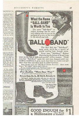 Vintage, Original, 1914 - Ball-Band Rubber Footwear Advertisement - Boots