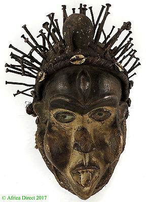 Vili Yombe Mask Headdress with Nails Congo African