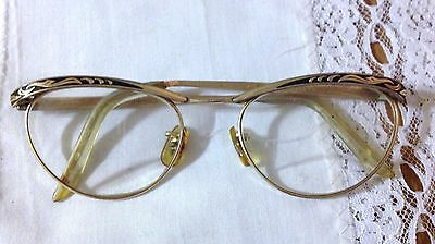 Vintage M/C 4-5 1/4 12k Gold Filled Lady Cat Eye Glasses USA 20 M/C