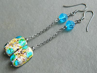 "Vintage ""End of Day"" Spatter & Deco Aqua Blue Glass & Oxidised Silver Earrings"