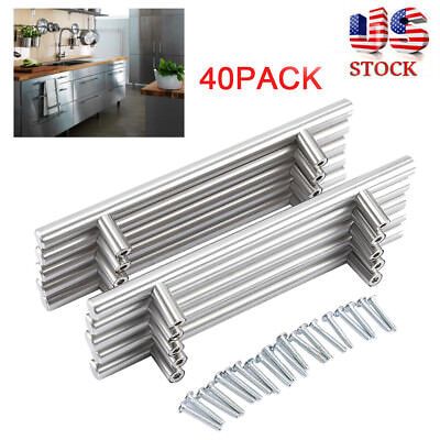 40pcs T Bar Kitchen Cabinet Door Handle Cupboard Drawer Furniture Handles Pull