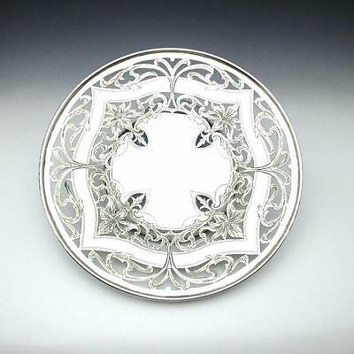 "Antique Hand Engraved Pierced Sterling Silver 10"" Pedestal Cake Plate Dish 366g"