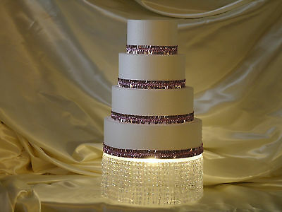 "Cake Stand, 12"" Round, Lighted, Crystal Bling, Wedding, Birthday"