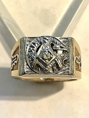 Heavy Men's Masonic 14K Solid Gold & Diamond Ring, Sz 11.5, 14.4 Grams