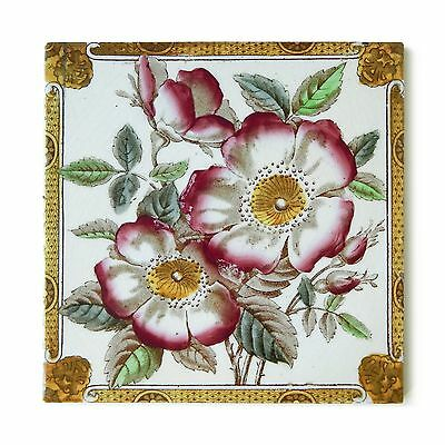 Antique Tile Victorian Aesthetic Rococo Arts Crafts English Floral Hand Painted