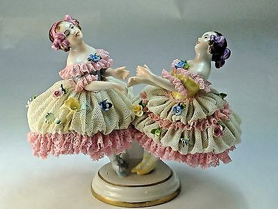 "Vintage  Dresden Volkstedt ""Girls Dancing"" Porcelain Lace Figurine Germany"