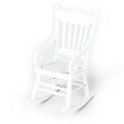 1/12 Miniature Dollhouse Wooden Rocking Chair Model White CP